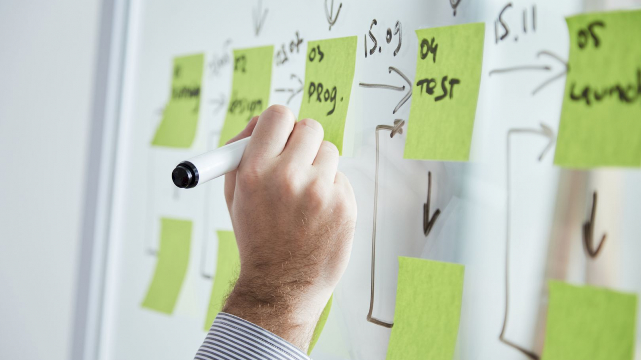 Hand of businessman writing every step of development strategy on stickers